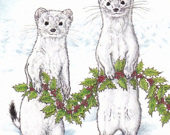 Decking Ermine Card from an Original Pen and Colored Pencil Drawing Holiday