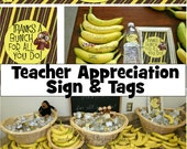 Teacher Appreciation Thanks a Bunch Sign and Water Bottle Labels - Instant Digital Download