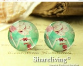 20% OFF SALE - 4pcs  25mm Handmade Photo Glass Cabs Cabochons -- BCH657R