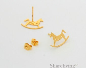 4pcs Rocking Horse Stud Earring, Gold Plated Post Earring Dual-used Horse Earring - ED033B