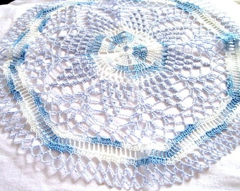 """Medium - Blue and White Variegated Colored Hand Crocheted Round Doily 15"""""""