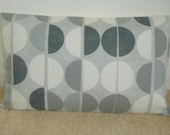 "Gray Bolster Pillow Cover 12x20 Grey and Ivory Spots 20""x12"" Retro Oblong Cushion Sham Case Slip Lumbar Pillowcase Silver White 20x12 NEW"