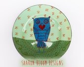 Ceramic Blue Owl Heat XO Dinner Plate Love is in the Air Valentine Hand Painted by Sharon Bloom Designs EHAG