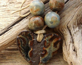 BLUE JEAN HEART - Handmade Ceramic Pendant with 4 Coordinating Beads - #1