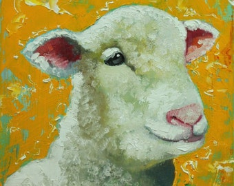Sheep painting 18 12x12 inch original oil painting by Roz
