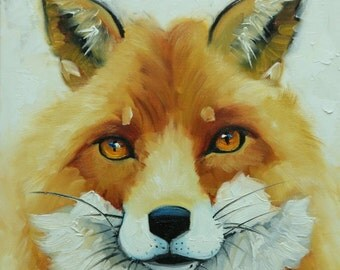 Fox painting 36 12x12 inch original animal portrait oil painting by Roz