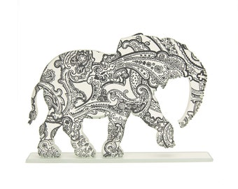 Paisley Elephant Glass Sculpture Custom Screen Print Colours