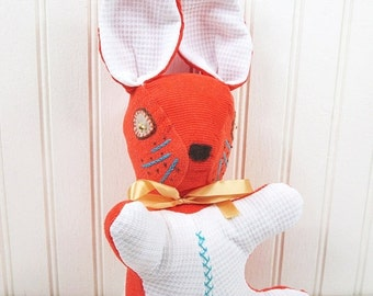 ON SALE Vintage Stuffed Rabbit Plush Bunny Handmade Orange Aqua White Corduroy Doll Toy