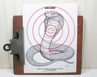 "Vintage Snake Paper Shooting Target King Cobra 8.5"" x 11"" Animal Bullseye Illustration"