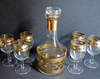 Culver Valencia Glasses and Decanter with Stopper Set- Mid-Century Gold High-Quality Wine Liquor Whiskey Decanter Drinkware Barware Bar Cart