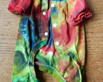 OOAK Tie Dye Multicolor Cotton Pajamas Long Johns Onsie Medium Dog -Carla Smale