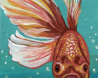 ACEO ATC Comet Gold Fish  Original Painting Art-Carla Smale