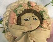 Antique Hand Made Powder Puff Design  Handwork Embroidery and Stitch Work on Unique Lady's Powder Puff