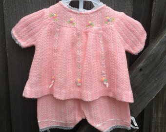 70s Knit Baby Outfit 0/3 Months
