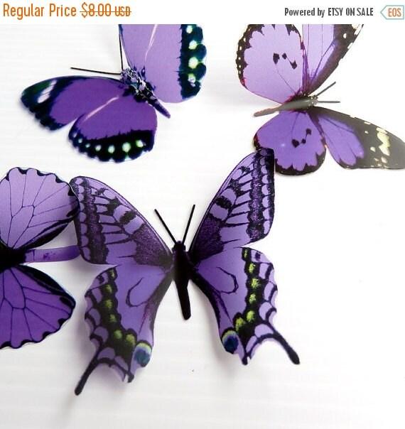 NEW YEAR SALE 6 x Mixed Purple 3D Transparent Butterflies