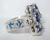 On Sale - Star Sapphire Turn around Ring handmade Sterling Silver OOAK Made USA Treasurings