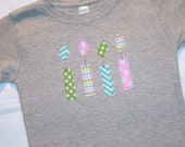 Girls 4th Birthday Candle Shirt - Size 4 short sleeve heather gray with candles in pink aqua green chevron and dots