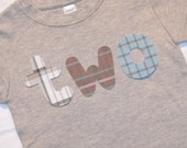 Boys 2nd Birthday Lowercase TWO shirt - size 2 short sleeve heather gray with plaid lettering in gray blue white