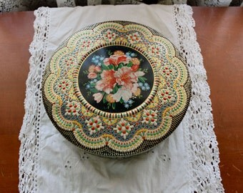 Vintage Floral Mosiac Tin lots of color and detail