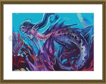 Mermaid cross stitch pattern - coral fantasy modern counted cross stitch v2