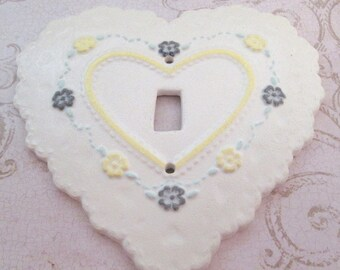 Switch Plate, Ceramic Heart, Vintage Switchplate, Decorative, Light Switch Cover, switch plate cover, light switch plate