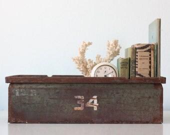 Vintage Industrial Crate, Metal 34 Crate