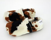 Baby Booties boy girl toddler slippers shoes soft soled non slip SWAG Faux Brown cow cowhide fur baby shower newborn infant gender neutral