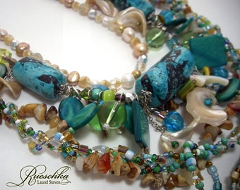 Gifts From the Sea Three Necklaces Earring Set Boho Gemstones Czech Glass Polymer Turquoise Shell Fantasy