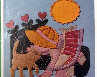 Applique Pattern Kissing Kitty  Complete Uncut Sunbonnet Sue Quilting Block