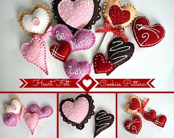 Felt Heart Cookies  Kit, Deluxe Kit, Wool Felt Cookies Kit, Prim Wool Felt Kit, Merino Wool Felt Cookie Kit, Heart Felt Cookies