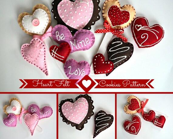 Felt Heart Cookie Pattern, Felt Food Patterns, Felt Sewing Pattern, Downloadable Sewing Pattern, Instant Download Sewing Pattern, E Pattern