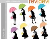 50% OFF SALE Clipart Chic Mom Under Umbrella E073 - Silhouette digital clip art