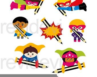 Superhero Writing clipart, cute superhero clipart, superhero with pencil, download