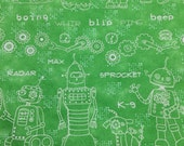 Robot fabric - 2 yards x 42 inches - green heavier weight cotton