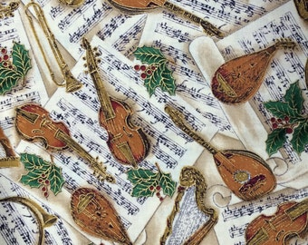 Musical Christmas fabric - 1 1/3 yards x 43 inches - tan - gold accents - Hoffman International