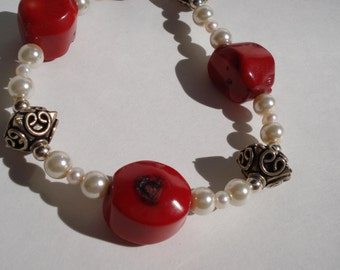 Red coral nugget, silver and white pearl necklace