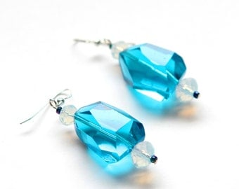Electric Blue Earrings with Opalescent Czech Glass Beads