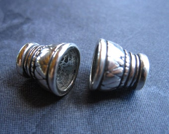 Heavy Solid Sterling Silver Bead Caps - oxidized - 7mm hole - pair