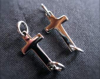 Smooth Finish Solid Sterling Silver Cross Charm Links - earring drops or bracelet charms