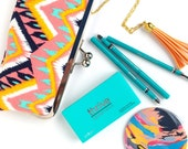 Pink and Navy Tribal Clutch - Kisslock Frame Clutch in Pink Aztec Type Tribal Print Canvas Fabric - Kisslock Clutch