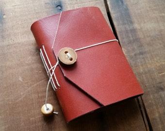 Orange Leather, wood button,Small Handbound Leather Journal Book