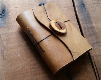 Smooth Brown Leather, wood button,Small Handbound Leather Journal Book