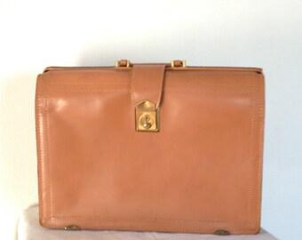 Vintage Leather Briefcase,  Mid Century Unisex Cowhide Laptop Bag,
