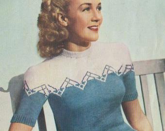 Vintage Ladies Two Colour Twin Set, Knitting Pattern, 1940 (PDF) Pattern, Weldons 735