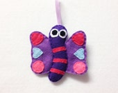 Felt Ornament, Harmony the Butterfly, Christmas Ornament, Felt insect, Gifts under 20, Gifts for Mom, Pink, Purple