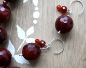 RESERVED - Dyed Plum Agate Necklace and Earrings Set