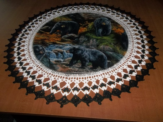 Crocheted Black Bear Doily Beware the Bears are out and Hungry in Montana  20 inches