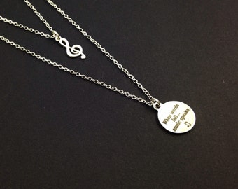 Music Speaks Double Chain Charm Necklace