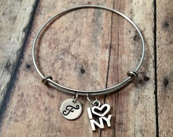 I Love New York initial bangle - New York jewelry, NY bracelet, Manhattan jewelry, gift for New Yorker, silver New York bangle, NYC jewelry