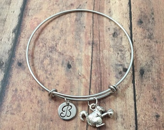 Squirrel with acorn initial bangle- squirrel jewelry, animal jewelry, woodland jewelry, squirrel bracelet, forest jewelry